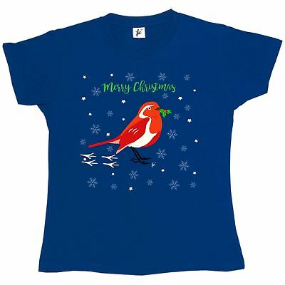 Red Crested Robin In Snow Holding Holly Berries Womens Ladies T-Shirt
