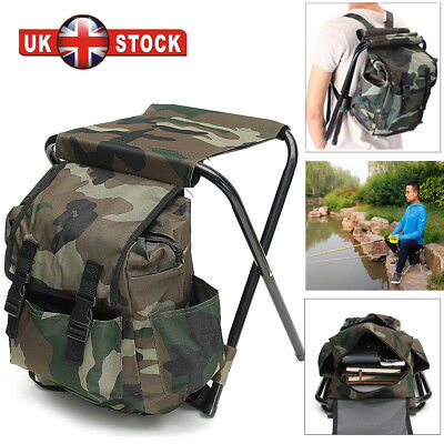 2in1 Fishing Hunting Stool Backpack Rucksack Fold Seat Chair Bag Camping Hiking