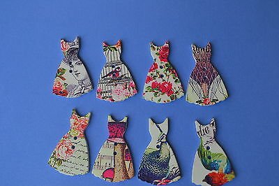 Dress Buttons 8 Shabby Chic French Wood Embellishments  Scrapbooking Craft Cute