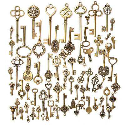 Set of 70 Antique Vintage Old Look Bronze Skeleton Keys Fancy Heart Bow Pendants