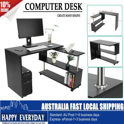 Office Computer Desk Corner Laptop Table w/Bookshelf Home Rotary Black Furniture