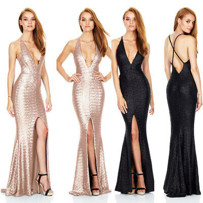 UK Womens Long Backless Split Dress Evening Party Prom Ball Gown Formal Dress