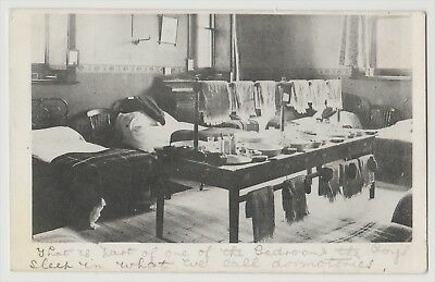 VIEW OF A DORMITORY AT A BOYS SCHOOL. EARLY 1900s pc