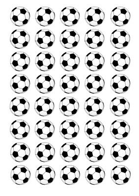 40 Soccer Ball 3cm round cupcake edible images
