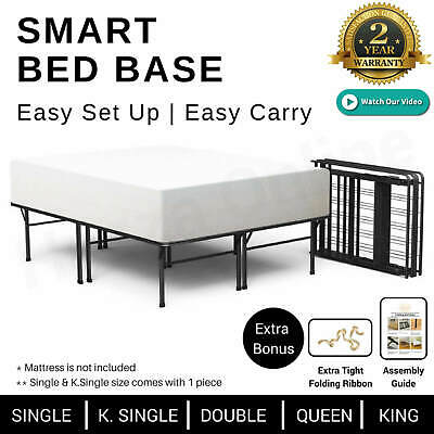 Folding Bed Frame JANVIER 16 KING QUEEN DOUBLE SINGLE Size BLACK Metal Base NEW
