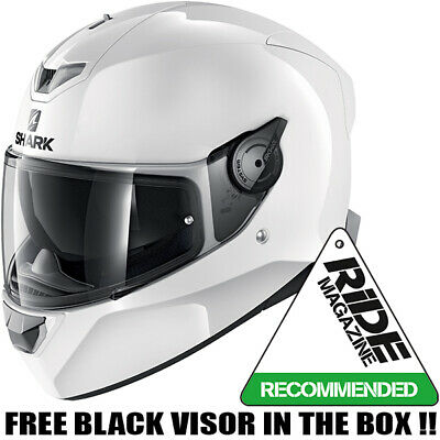 New SHARK SKWAL 2 HELMET -Gloss White motorcycle helmet with LED Light System ZE