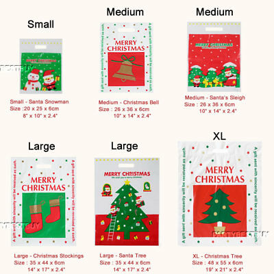 Christmas Plastic Carrier Bags Xmas Santa Claus Toys Gift Shop Stall Retail