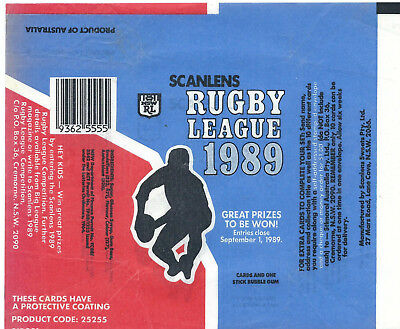 Scanlens - 1989 Rugby League (NRL) - Card Wrapper - NO TEARS / RIPS