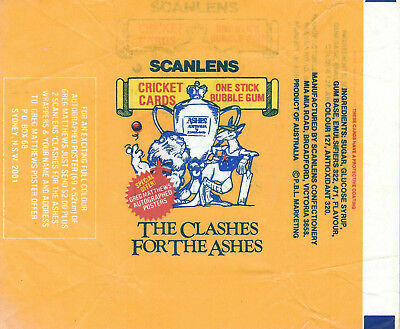 Scanlens -  CLASHES FOR THE ASHES  - Card Wrapper - 1986 - NO TEARS / RIPS