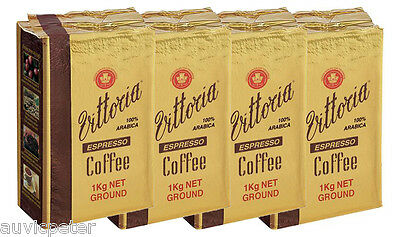 4 Packs 1kg Vittoria Espresso Coffee Ground in Vacumm Pack, 100% ARABICA 4x1kg