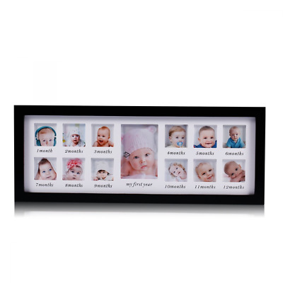 My First Year Baby Photo Keepsake Wood Kids Picture Frame 12 Photo Moments Black