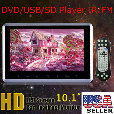 "10.1"" HDMI Slim Headrest Monitor HD Digital Car DVD Player Portable IR/FM USB/SD"