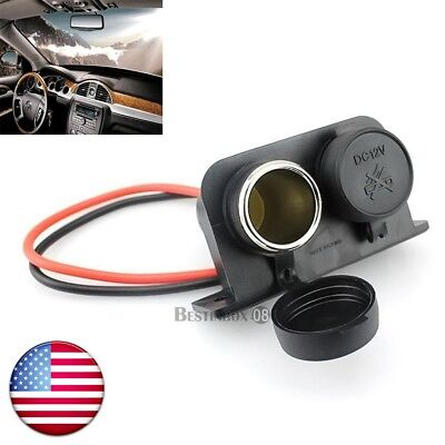12V Car Motorcycle Cigarette Lighter Waterproof Plug Outlet Power Dual Socket