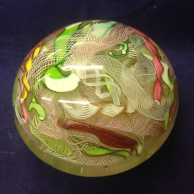 Vintage Murano Glass Ribbon Paperweight With Twisted Design. Unsigned. Scrambled