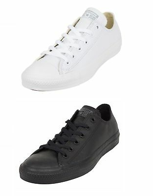 Converse Chuck Taylor All Star Ox Low Top Mono White Leather Unisex Trainers