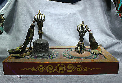 """Collect Tibetan Temple Ritual Great Set Bronze Gilt Silver """"Five Pronged"""" Bell"""