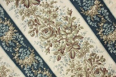 Antique French bed curtain hanging LARGE STUNNING floral c1870 textile blue