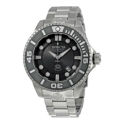 New Mens Invicta 19800 Grand Diver Automatic Charcoal Dial Steel Bracelet Watch