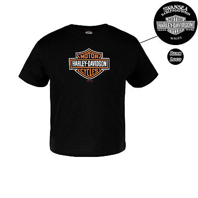 Harley Davidson Little Logo Kids Black T-Shirt Swansea Limited Edition