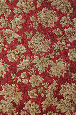 Antique French woven jaquard furnishing fabric red ground curtain panel