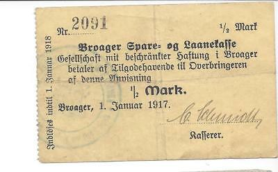 Denmark  Broager  1/2 Mark 1-1-1917  Scarce WW1 Notgeld  VF