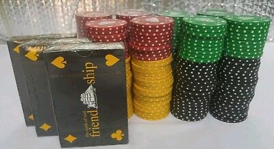 CUTTY SARK PLAYING CARDS AND CUTTY SARK POKER CHIPS 3 decks, 239 chips