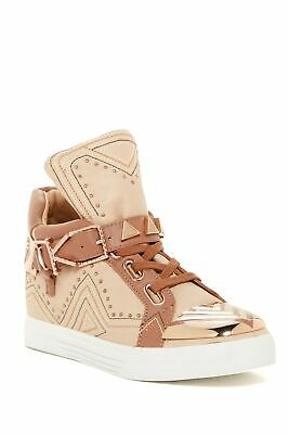 Ivy Kirzhner Lunar Natural Leather 18k Gold Plated Buckle Hidden Wedge Sneaker