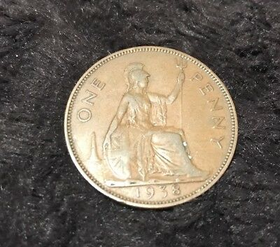 1938 Georgivs VI Great Britain One Penny Copper Coin Collectible Collection