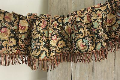 Antique French Belle Epoque valance with fringe trim black ground ruffle