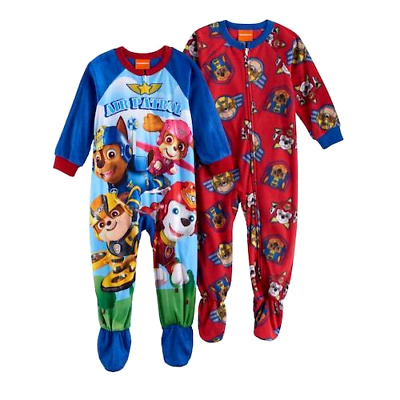 New PAW PATROL 3T 4T Toddler Boys FOOTED PAJAMAS Blanket Sleeper Pjs Soft FLEECE