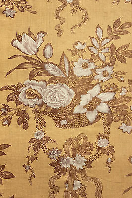 Antique French floral ribbon madder gold curtain drape c1850 homespun backed