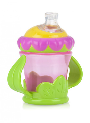 Nuby Two-Handle No-Spill Flower Child Cup with Super Spout, 7 Ounce