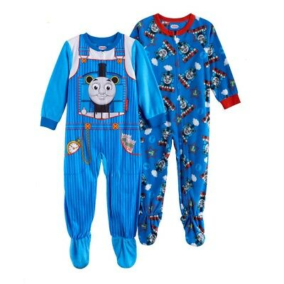 THOMAS THE TRAIN 2T 3T 4T Toddler Boys FOOTED PAJAMAS Blanket Sleeper Pjs FLEECE