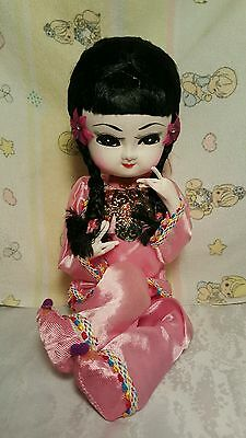 Vintage Asian Chinese Seated Dolls - Silk shiny Clothes  cloth over foam