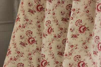 Antique French faded fabric material floral aged reds beautiful cotton drape