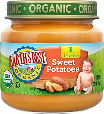 Earth's Best Organic Stage 1 Sweet Potatoes 2.5 Ounce Jar Pack of 12
