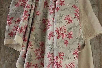 Antique French bed cover coverlet textile pink GREY GRAY printed cotton backed