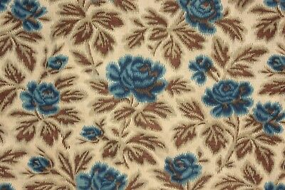 Antique French printed cotton simulated warp print blue rose floral 1870 curtain