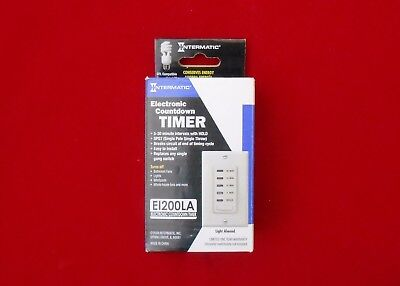 Intermatic EI200LA 5/10/15/30 Minute Electronic In-Wall Countdown Auto-Off Timer
