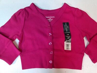 Organic Cotton Baby Girls Cardigan Button Front Pink, Blue 12, 18 Month NEW