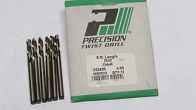 6 new PTD Precision 4.0mm 4ASMCO HSCo Cobalt Screw Machine Length Drills 32400