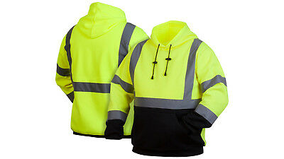 Pyramex High Visibility Hooded Sweatshirt Class 3 Safety Hoodie Hi vis lime M-5X