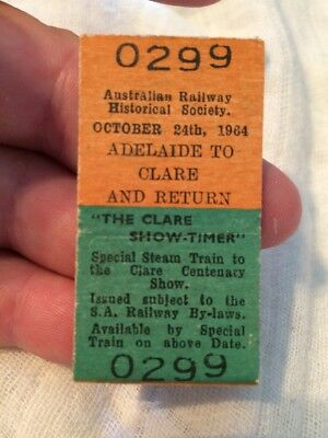 Vintage Watervale To Clair And Return Ticket #0299 .oct 24 1964 Railway Ticket