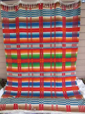 Heavy Antique Vintage 1930s Wool Striped Trade Camp Blanket Lodge Cabin 70x98""
