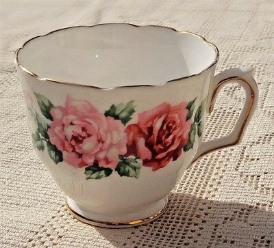 Vintage Crown Staffordshire Fine Bone China Tea Cup - Floral W/gold Trim Design