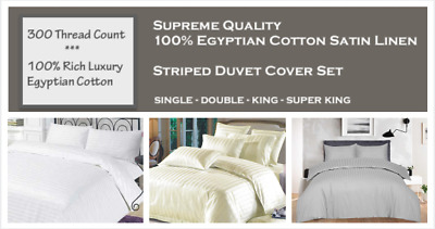 Luxury TC300 EGYPTIAN COTTON SATIN Striped DUVET COVER SET HOTEL QUALITY Bed Set