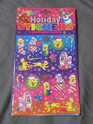 New Vintage Lisa Frank Holiday Stickers Set 2 Sheets Golden Lab Dog Christmas