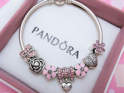 Authentic Pandora Silver Bangle Charm Bracelet With Pink LOVE European Charms.