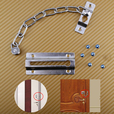 Iron Door Security Safety Chain Guard Fastener Silver Lock Bolt Home Room Hotel
