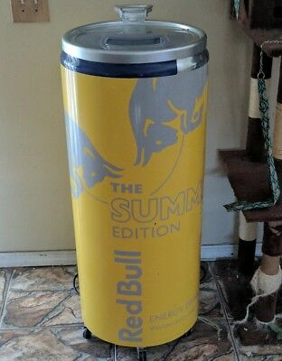 Red Bull Energy Drink Cooler Rolling Fridge COVER ONLY! Yellow Edition Tropical